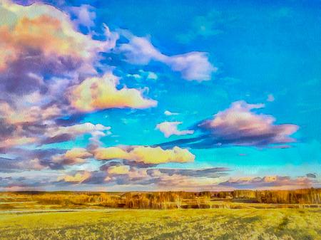 Painted image of a picturesque autumn landscape. Illustration Фото со стока - 111167427