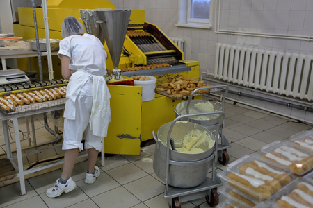 Industrial equipment and machinery at the factory of bread and sweets