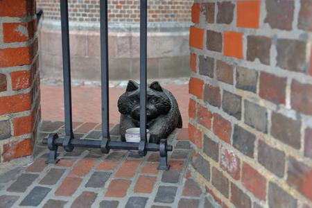 Kaliningrad, Russia - February 23, 2019: Bronze sculpture of a Koenigsberg cat. Friedrichsburg Gate. The author - Lyudmila Bogatova Editorial