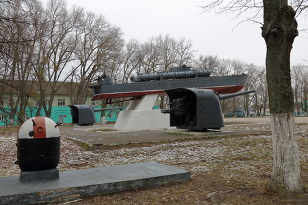 Baltiysk, Russia - February 23, 2019: Monument to the torpedo boat. Monument of architecture of municipal value. Established in 1970