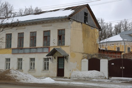 Facade of an old building in the ancient Russian city of Torzhok, Russia