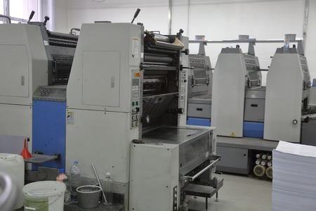 Specialized professional equipment for the manufacture of printed products in the printing house Stock fotó