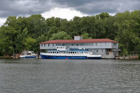 River transport vessel on the surface of the river in the daytime