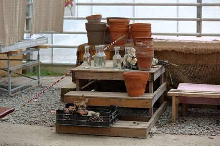 Empty brown clay pots for home and garden decoration