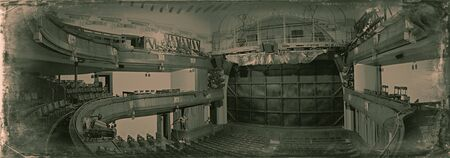 Moscow, Russia - August 25, 2019: Empty performance hall of the Moscow Chekhov Art Theater. Wide panorama