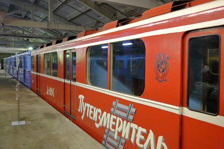 Moskau, Russland - 27. September 2019: Im Elektrodepot Kaluzhskoye für die Wartung und Reparatur von Personenzügen und Autos der Stadtmetro Editorial