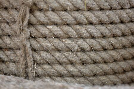 Textured surface of coarse hemp rope made of natural Cannabis Sativa Imagens