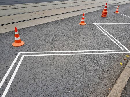 Asphalt pavement and paper adhesive tape before road marking