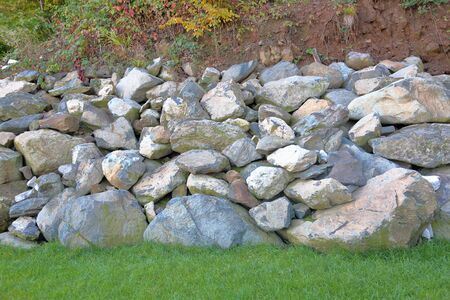 Pile of large gray cobblestones for landscape design Imagens
