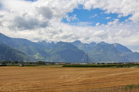 Typical european countryside with agricultural land on a summer day Reklamní fotografie