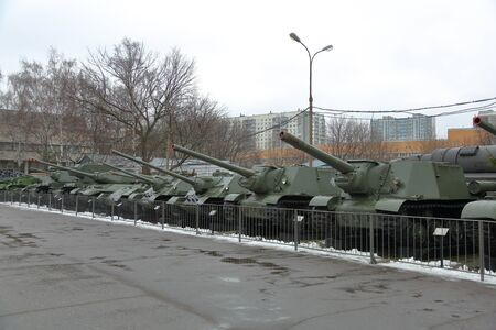 Moscow, Russia - January 16, 2020: Military equipment in the open air. Part of the exposition of the Central Museum of Armed Forces of the Russian Federation Redakční