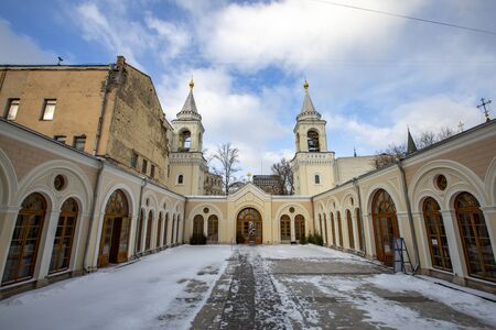Moscow, Russia - February 07, 2020: Exterior of the Church of the St. John the Baptist Convent. Founded in the 15th century