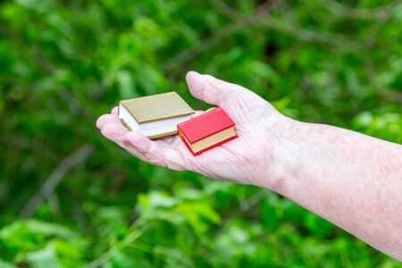Female hand holds a mini book in leather cover on a background of bright green foliage Stockfoto