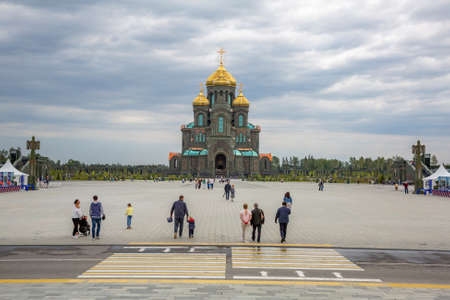 Kubinka, Russia - July 26, 2020: Exterior of the Main Temple of the Armed Forces of the Russian Federation. Opened in 2020. Constructed from glass and metal. Facade of melted armor of fascist tanks and equipment of 1945