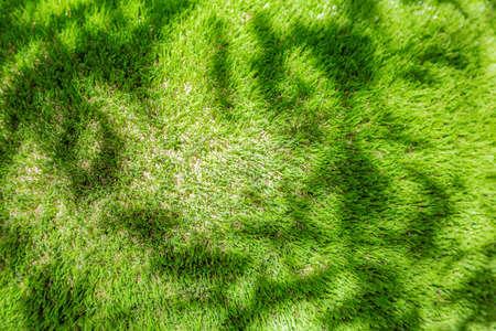 Bright green plastic grass as garden and yard decor