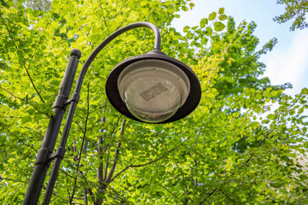 Vintage black iron lantern in a public park Stockfoto