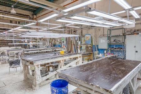 Moscow, Russia - September 07, 2020: Inside an industrial workshop of the Dikart gypsum stucco molding plant Redakční