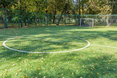 Part of the green field for soccer without people is covered with yellow fallen leaves