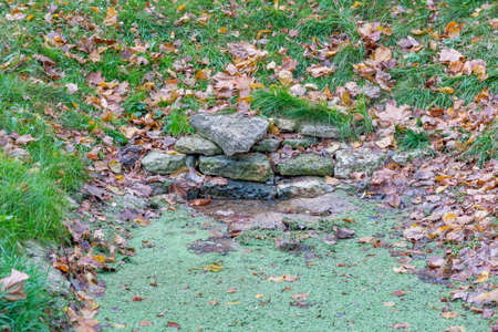 Untreated rough natural stone in everyday environment, gardening and landscaping Stockfoto