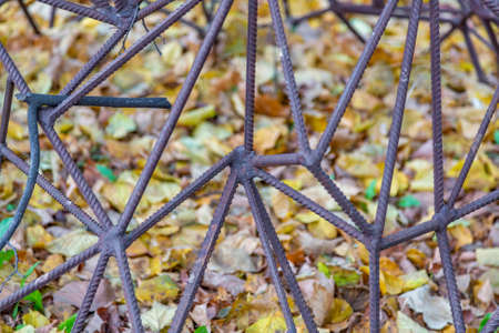 Abstract pattern of rusty rebar and yellow fallen leaves