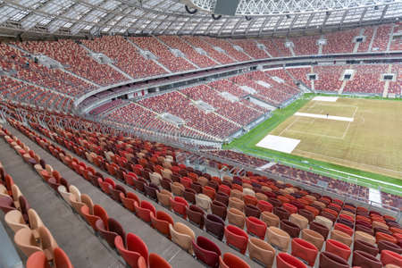 Moscow, Russia - March 14, 2021: Inside the Big sports arena of the Olympic complex Luzhniki. Opened in 1956. The global reconstruction in 2014-2017, which was made for the 2018 FIFA World Cup