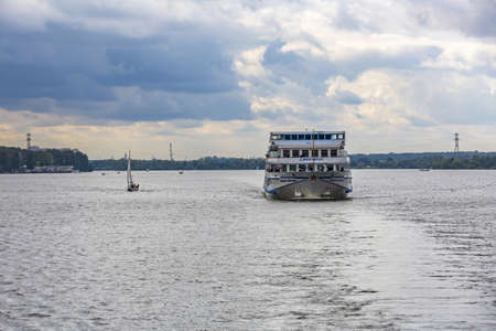 Moscow region, Russia - September 10, 2021: White four-deck ship Mikhail Bulgakov on a river cruise. Built in Germany in 1979 Editorial