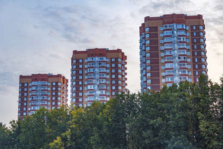 Moscow region - September 12, 2021: Modern high-rise residential building in the vicinity of the capital city
