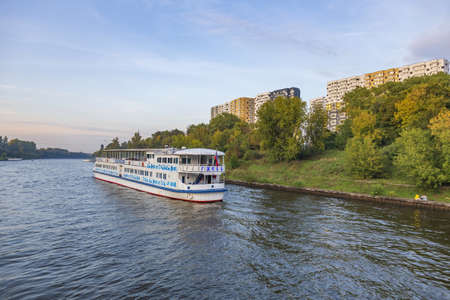 Moscow region, Russia - September 10, 2021: White double-deck ship Gzhel on a river cruise. Built in Germany in 1969 Editorial