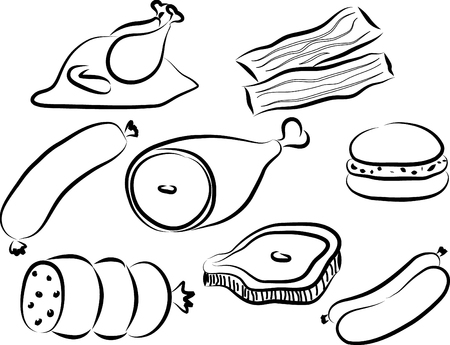 Doodle illustration of protein source, meats of cow, chicken and bacon