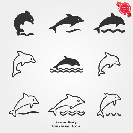 Dolphin icons Stock Vector - 112596019