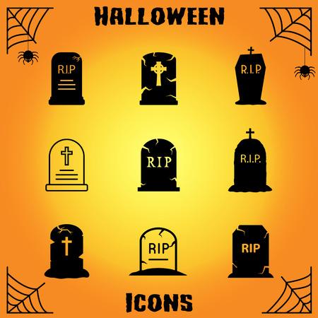 Tombstone icon set Illustration