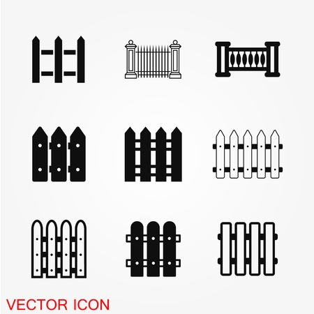 Fence icon vector flat pictogram on background.