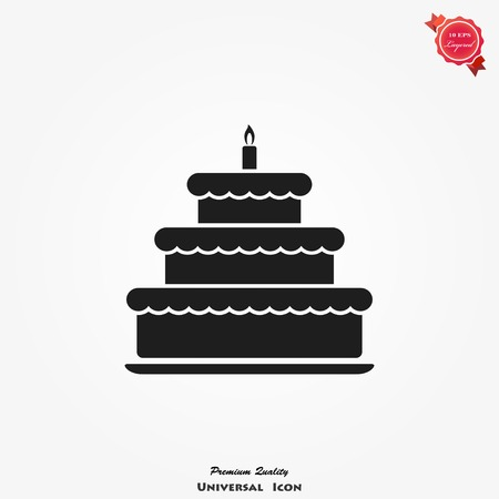 Cake icon vector illustration. Happy birthday symbol, cake for birthday celebration Vectores