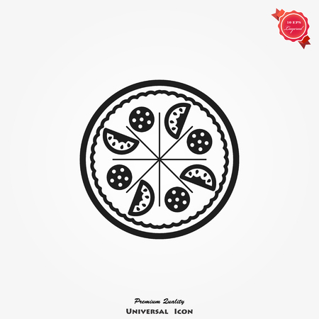 Pizza icon vector in flat style, food silhouette