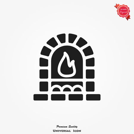 Oven, fireplace icon vector, food sign, illustration on background