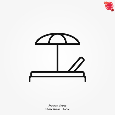 Chaise longue icon vector on white background. Element of simple icon for websites, web design, mobile app, info graphics.