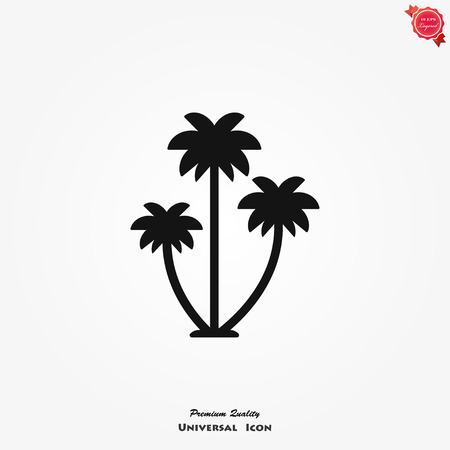Palm tree vector icon on white background, flat illustration