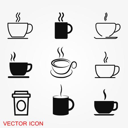 Icône de vecteur de tasse de café. Illustration de stock de symbole de boisson au café. Vecteurs
