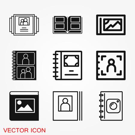 Photo album vector icon on white background illustration Illustration