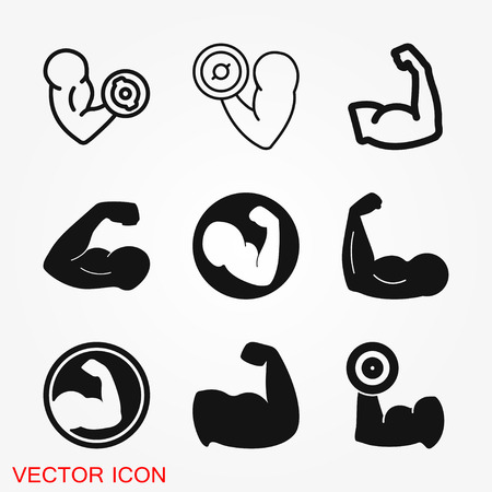 Biceps icon, muscle strength or power vector icon for exercise apps and websites