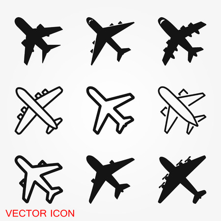 Plane icon on white background, Airplane icon vector. Flat icon aircraft symbol