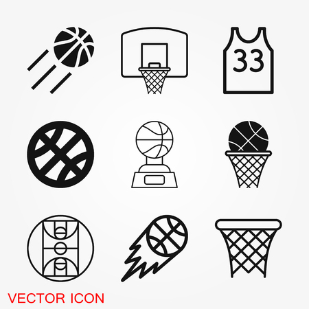 Basketball icon vector, in trendy flat style isolated on white background. basketball icon image, basketball icon illustration Иллюстрация