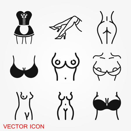 Erotic icon for adult only content, vector illustration