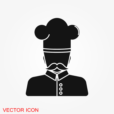 Chef icon in a cooking hat vector . Kitchen symbol.