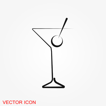 Vecteur d'icône de cocktail, pictogramme isolé sur fond