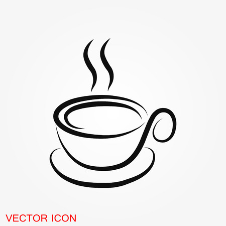 Coffee cup vector icon. Coffee drink symbol stock web illustration. Çizim