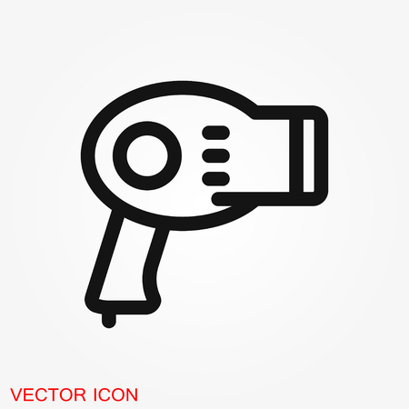 Hairdryer vector icon. Hair drying symbol, modern UI symbol Illustration