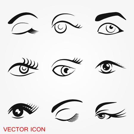 Icono de ojo hermoso con logo de cepillo de cejas, ilustración, símbolo de signo de vector para el diseño