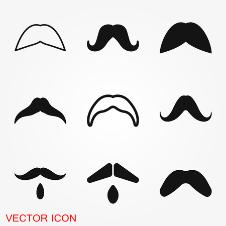 Mustache icon logo, illustration, vector sign symbol for design