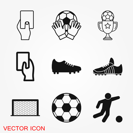 Foot ball, soccer icon sport objects for logo, vector sign symbol for design